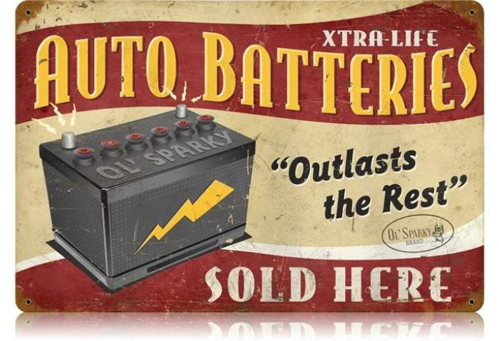 Vintage Auto Batteries Metal Sign 12 X 18 Inches